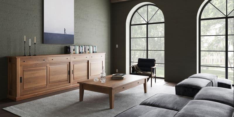 Table basse en chêne massif de style cottage sur mesure