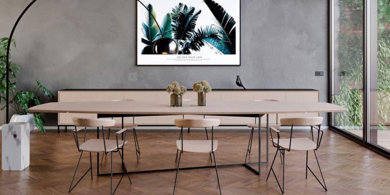 Table en chêne massif et métal noir